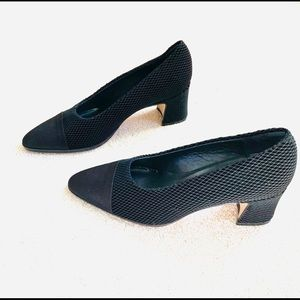 Nickels Pointy Black Square Heel Shoes